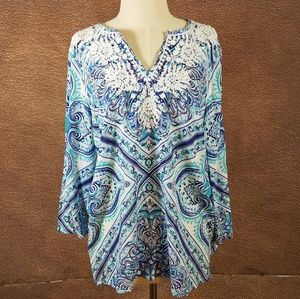 Boho embroidered tunic /swim cover Med
